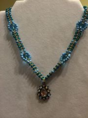 18 inch Necklace Blue with Droplet Pendant