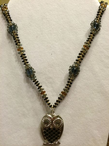20 inch Necklace Black with Owl Pendant