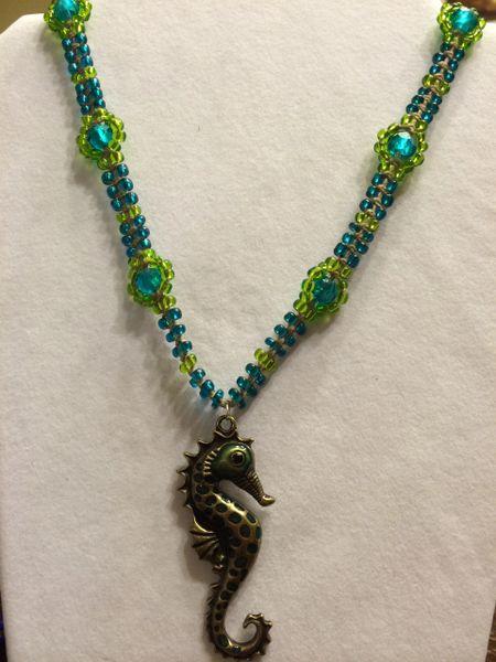 20 inch Necklace Aqua with Seahorse Pendant