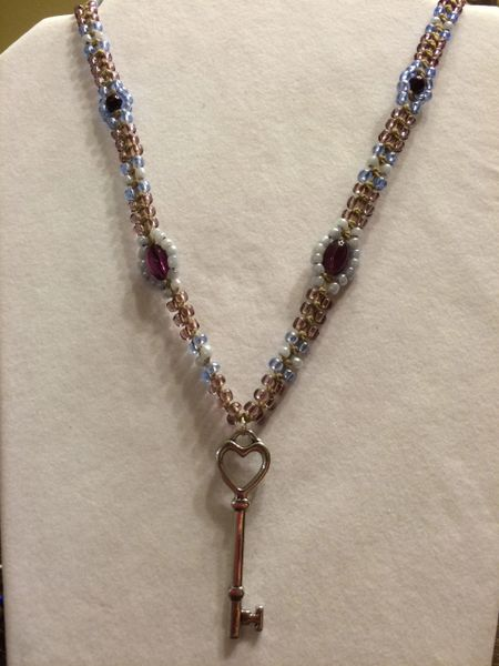 20 inch Necklace Light Blue Purple with Heart Key Pendant