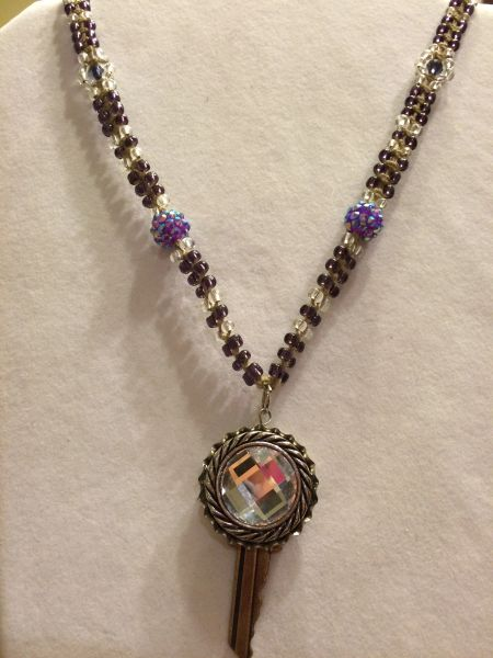20 inch Necklace Purple with Key Pendant