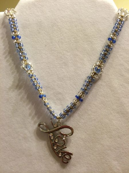 20 inch Necklace Blue with Love Pendant