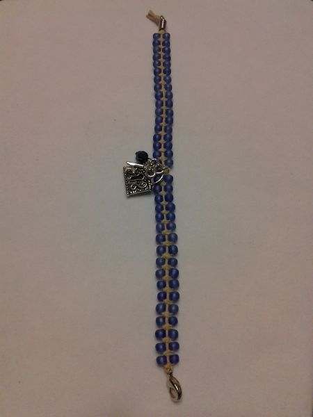 8 inch Bracelet Blue with Lock and Key Charm
