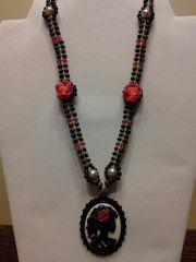 18 inch Necklace Black Red with Skeleton Cameo Pendant