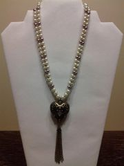18 inch Necklace White with Pearls Inside a Heart Pendant