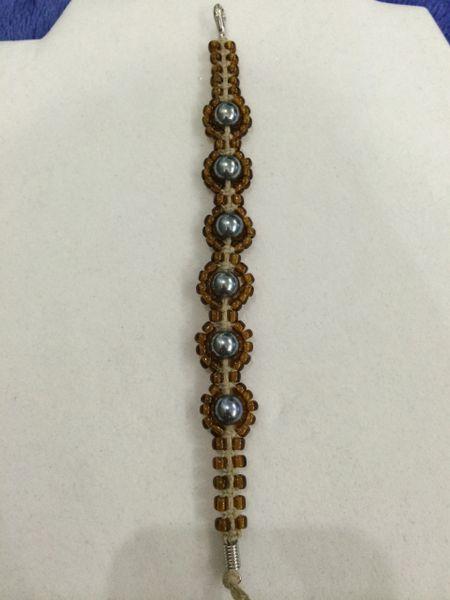 7 inch Bracelet Brown Silver