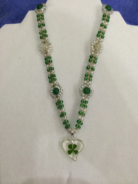 16 inch Necklace Green with Four Leaf Clover Heart Pendant