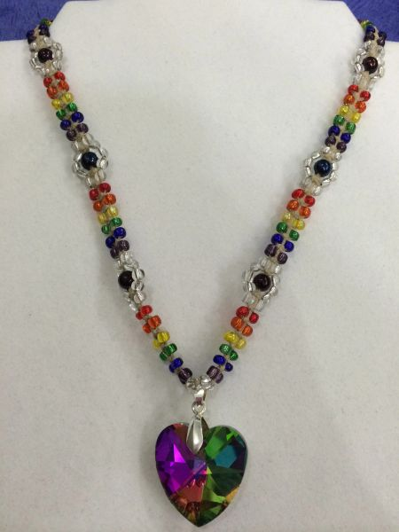 18 inch Necklace Rainbow with Jewel Heart Pendant
