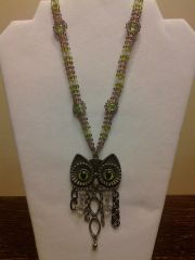 18 inch Necklace Purple Green with Owl Pendant