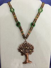 20 inch Necklace Bronze Green with Tree Pendant