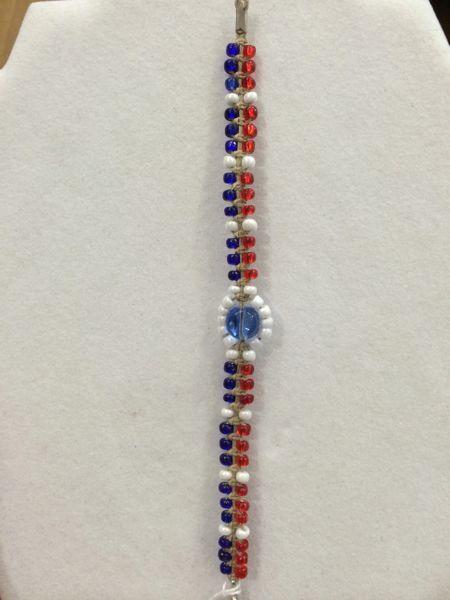 7 inch Bracelet Red White Blue