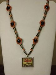 22 inch Necklace Black Orange with Blood Donors Wanted Pendant