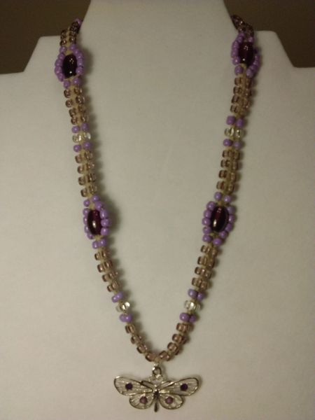 16 inch Necklace Lavender with Butterfly Pendant