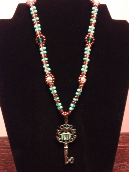 16 inch Necklace Teal with Key Pendant