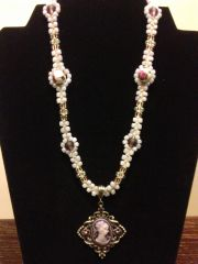 18 inch Necklace Purple White with Cameo Pendant