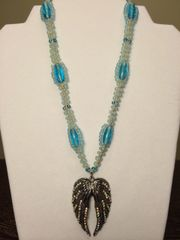 18 inch Necklace Blue with Wings Pendant