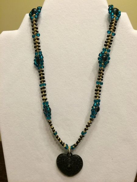 18 inch Necklace Aqua Black with Heart Pendant