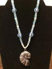 16 inch Necklace Blue with Shell Pendant