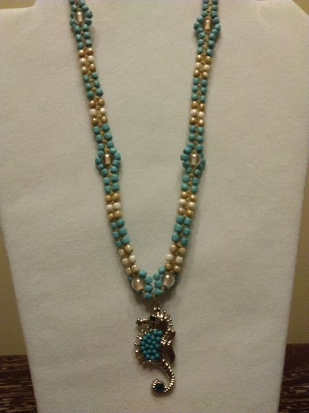 20 inch Necklace Teal with Seahorse Pendant