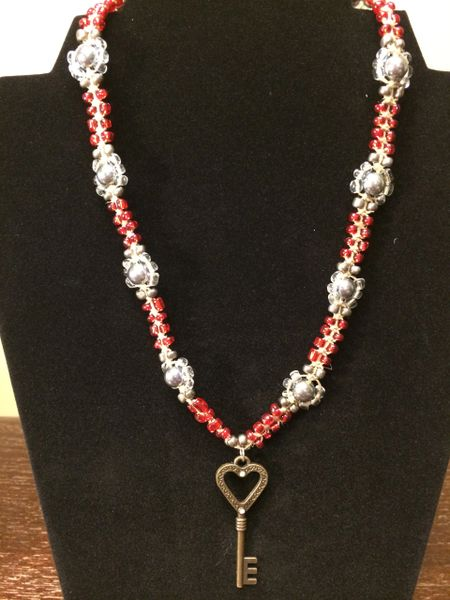 18 inch Necklace Red with Heart Key Pendant
