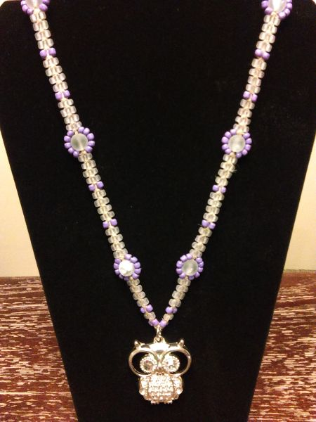 22 inch Necklace Purple Clear with Owl Pendant