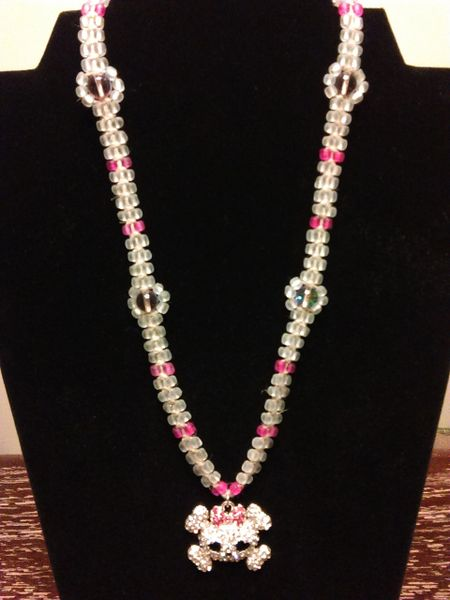 20 inch Necklace Pink with Girly Skull and Crossbones Pendant