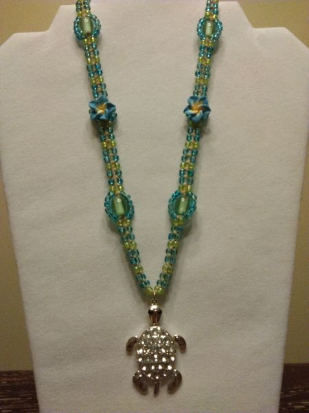 20 inch Necklace Blue with Turtle Pendant