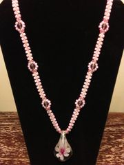 22 inch Necklace Pink with Glass Flower Pendant