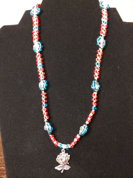 18 inch Necklace Red Blue with Metal Rose Pendant