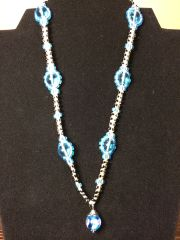 18 inch Necklace Blue with Flower Ball Pendant