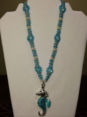 20 inch Necklace Blue with Seahorse Pendant