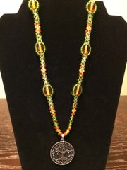 20 inch Necklace Green Orange with Tree Pendant