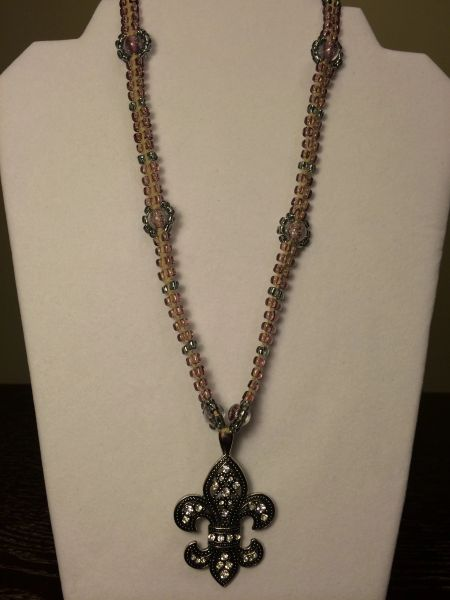 20 inch Necklace Purple with Fleur-de-lis Pendant