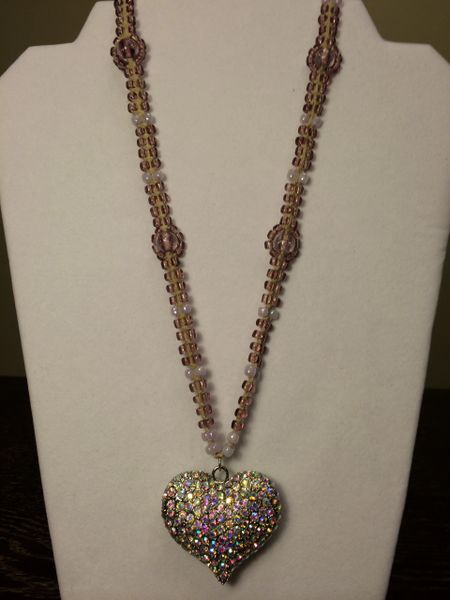 20 inch Necklace Purple with Heart Pendant