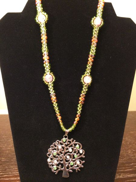 20 inch Necklace Green Purple with Tree Pendant