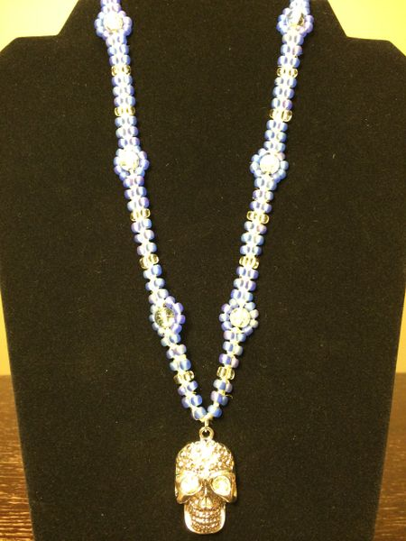 20 inch Necklace Blue with Skull Pendant