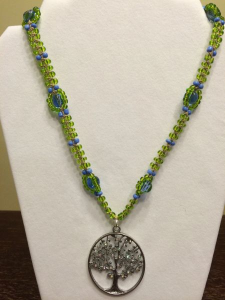 20 inch Necklace Green Blue with Tree Pendant