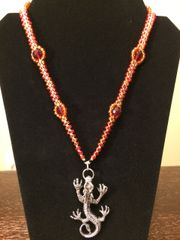 20 inch Necklace Red with Dragon Pendant