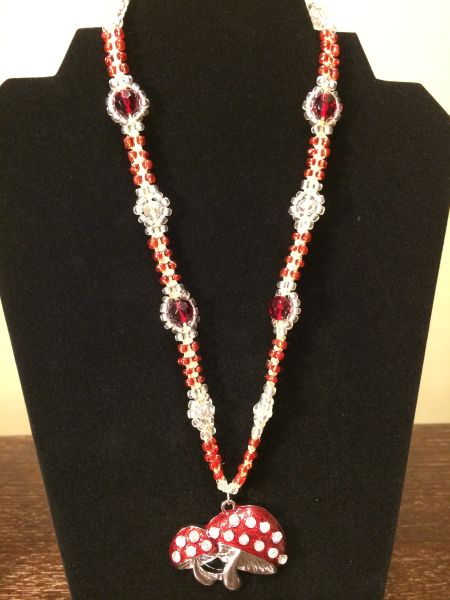 20 inch Necklace Red with Mushroom Pendant