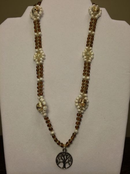 20 inch Necklace Brown White with Tree Pendant
