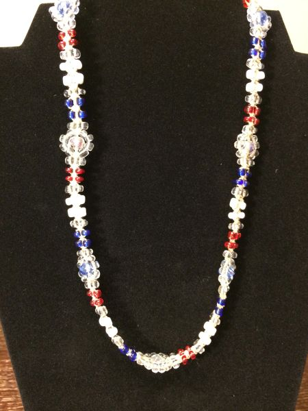 20 inch Necklace Red White and Blue