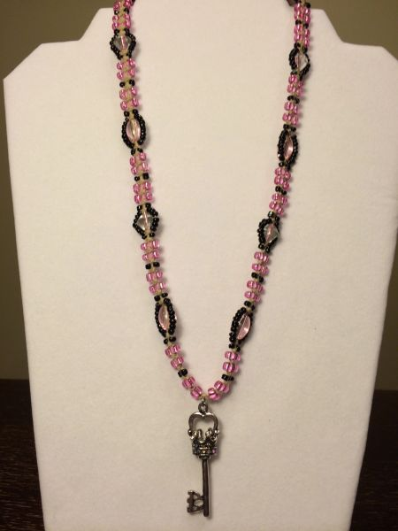 20 inch Necklace Pink with Crown Heart Key Pendant
