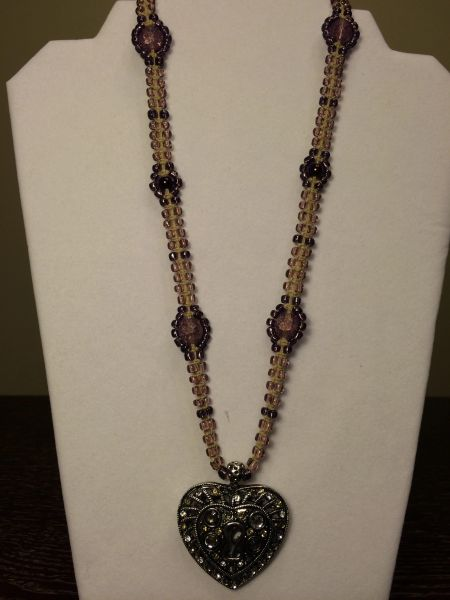 20 inch Necklace Two Tone Purple with Keyhole Heart Pendant