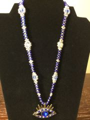 20 inch Necklace Blue with Evil Eye Pendant