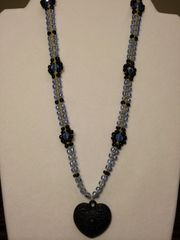 20 inch Necklace Blue Black with Heart Pendant