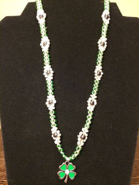 20 inch Necklace Green Silver with Four Leaf Clover Pendant