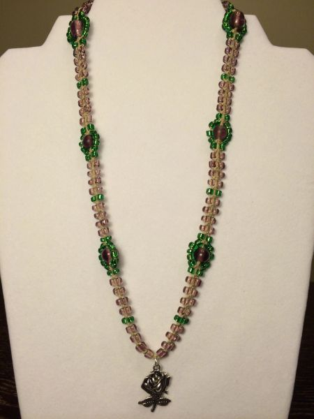 20 inch Necklace Purple Green with Metal Rose Pendant