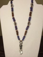 20 inch Necklace Bronze Blue with Droplet Pendant