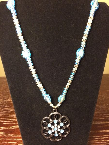 22 inch Necklace Blue with Flower Pendant