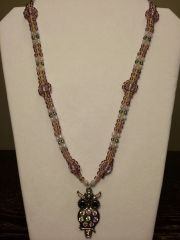 22 inch Necklace Two Tone Purple with Owl Pendant
